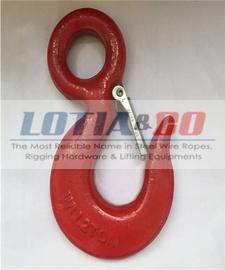 Eye Hoist Hook with Latch Red