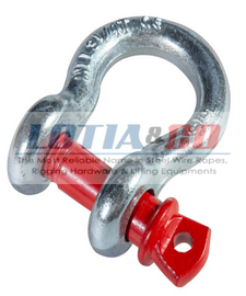 Galvanised Bow Shackle With Red